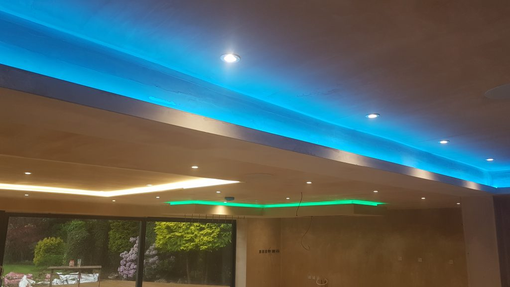LED arrangement on a kitchen ceiling
